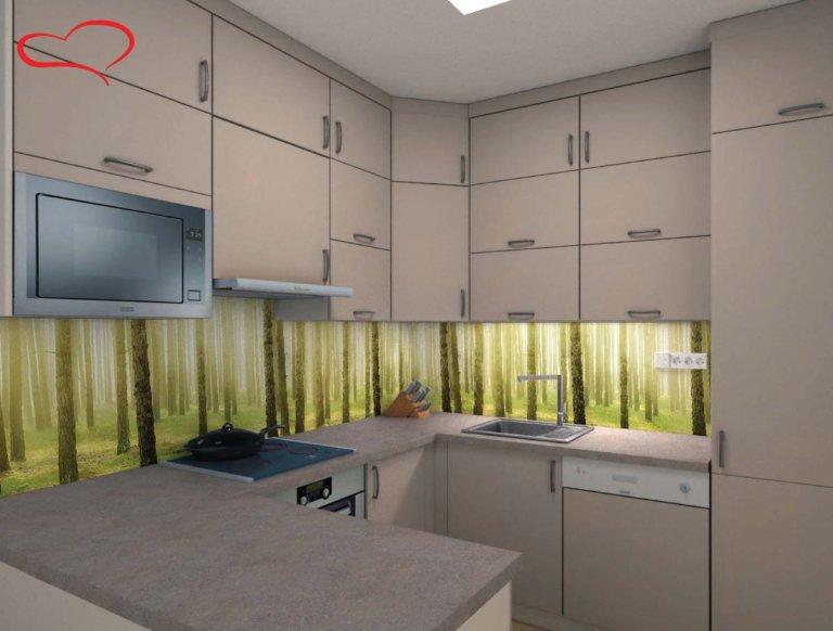návrh kuchyně 3D grafosklo